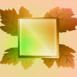 Autumn brown colored square frame and wine leaves card vector — Stock Vector