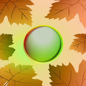 Brown colored circle frame and wine leaves card vector — ストックベクタ