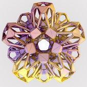 Ilustración abstracta dimensional escama brillante oro postal — Foto de Stock