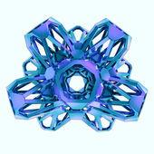 抽象的な冬の青い雪フレークはがきの概念図 — ストック写真