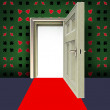 Open door with poker green pattern with red carpet concept illustration — Stock Photo