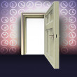 Open door in lighting abstract time space concept illustration — Stock Photo #13929088