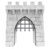 Isolated medieval gate with steel lattice opening illustration — Stock Photo