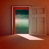 Open door to natural space with red frame and shadow illustration — Stock Photo