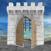 Středověká brána otevírání dveří s horské krajiny ilustrace — Stock fotografie