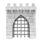 Isolated closed medieval gate with steel lattice down illustration — Stock Photo
