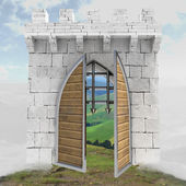 Medieval gate opening doors in mist illustration — Stock Photo