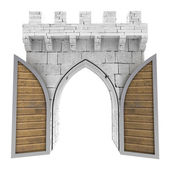 Isolated opened medieval gate with wood door illustration — Stock Photo