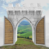 Opened medieval gate with wood door in mountain landscape illustration — Stock Photo