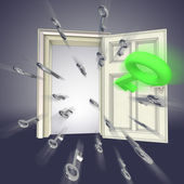 Flying keys opening door abstract violet concept illustration — Stock Photo