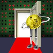 Sala de poker con la figura de moneda dólar apostado ilustración del concepto de alfombra roja — Foto de Stock