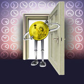 Open door with time pattern and dollar coin figure concept illustration — Stock Photo