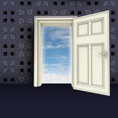 打开的门抽象的扑克房间模式概念图 — 图库照片