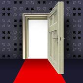 レッド カーペットの概念図と開いているドア抽象的な火かき棒部屋パターン — ストック写真