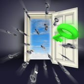 Center flying keys opening door abstract concept illustration — Stock Photo