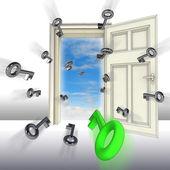 飞键打开门抽象的概念图 — 图库照片