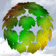 Stock Photo: Abstract maple treetop sphere colorful concept with sky background illustra