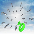 Stock Photo: Central flying central keys with green right one illustration