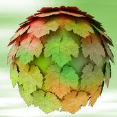 Abstract maple treetop sphere autumn blur background illustration — Stock Photo