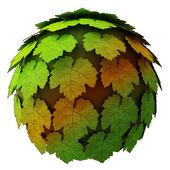 Isolated abstract maple treetop sphere autumn concept illustration — Stock Photo