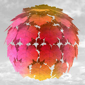 Abstract maple treetop sphere colorful in mist illustration — Stock Photo
