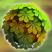 Abstract chestnut treetop sphere autumn blur background illustration — Stock Photo