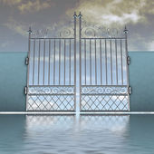 Closed metal steel baroque fence behind water illustration — Stock Photo
