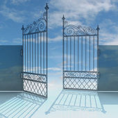 Open metal steel baroque fence wit blue sky illustration — Photo