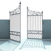 Open metal steel baroque fence illustration — Stock Photo