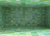 Tile covered bright room interior background illustration — Stock Photo