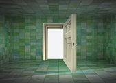 Tegola coperto interni sala e porta aperta all'illustrazione di spazio — Foto Stock