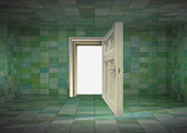 Tile covered room interior and open door to space illustration — Stock Photo