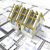 New modern sustainable house project with layout illustration — Stock Photo