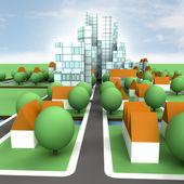 Street view to city concept development illustration — Stock Photo