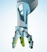 Robotic hand manipulating in future vector illustration — Stock Vector