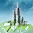 Sustainable island city development at winter — Stock Photo #14286103