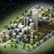 Stock Photo: Landscape of new sustainable city wintertime concept development