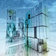 Stock Photo: Shinning skyscraper business city concept winter illustration