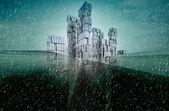 抽象的なブルー グリーン将来ビジネス都市景観冬デザイン コンセプト — ストック写真