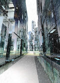 Shinning skyscraper business street concept winter illustration — Stock Photo