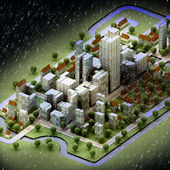 Landscape of new sustainable city wintertime concept development — Stock Photo