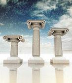 No inverno de três colunas de jônia grega antiga — Foto Stock