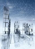 Nowoczesny wieżowiec miasta z padającego śniegu — Zdjęcie stockowe