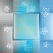 Snowflake blue background with blank square frame vector - Stock Vector