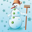 Cute snowman holding broom with falling snow vector - Stock Vector