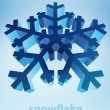 Stock Vector: Three dimensional snowflake perspective blue winter card vector template