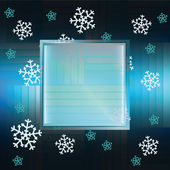 Snowflake dark blue background with square frame vector — ストックベクタ