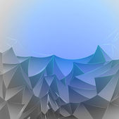 Three dimensional magic blue mountain card vector template — 图库矢量图片