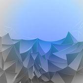 Three dimensional magic blue mountain card vector template — Stock Vector