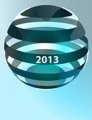 ストライプ冬球形ベクトル新年テンプレート — ストックベクタ